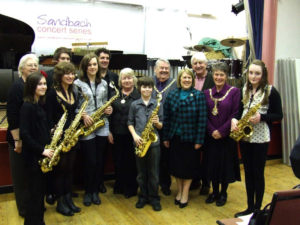 Young musicians meet the local dignitaries